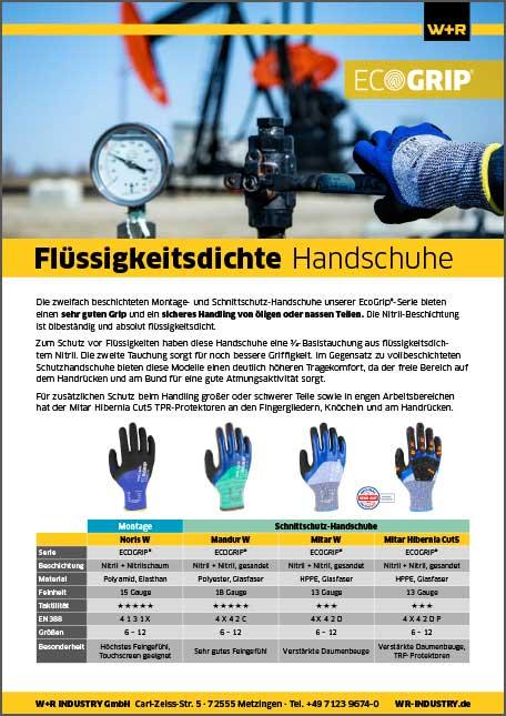 Flyer Flüssigkeitsdichte Schutzhandschuhe