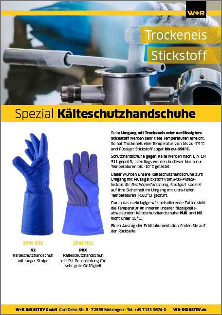 Flyer Stickstoff-Schutzhandschuhe